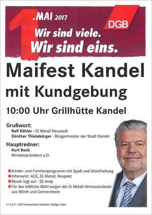 Plakat 1. Mai 2017 Kandel