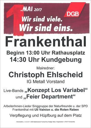 Plakat 1. Mai 2017 Frankenthal