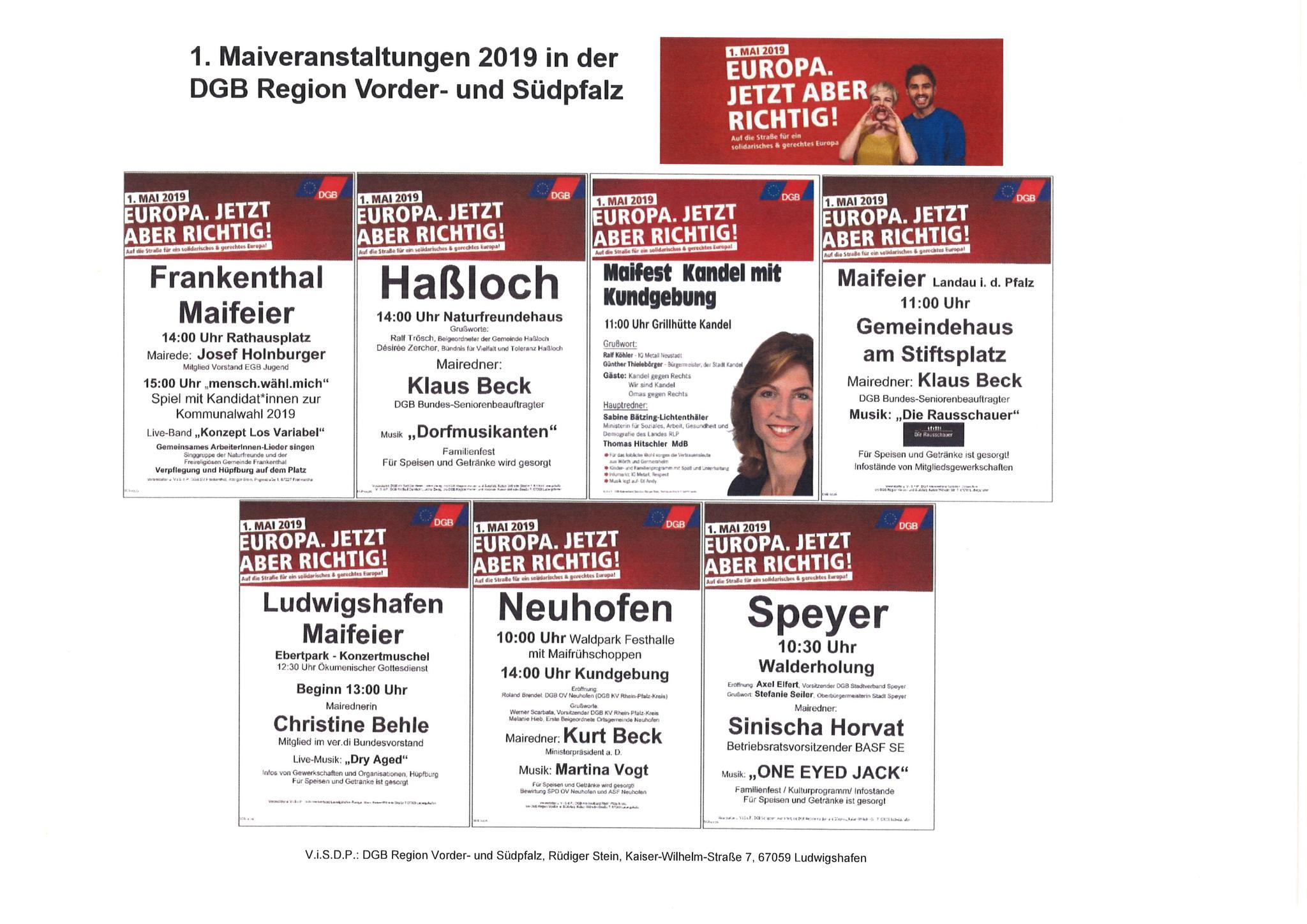 Übersicht Maiveranstaltungen DGB Region Vorder- und Südpfalz